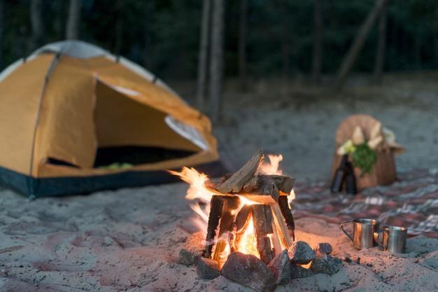 Camping lighting a fire - Hot Box Fire lighter
