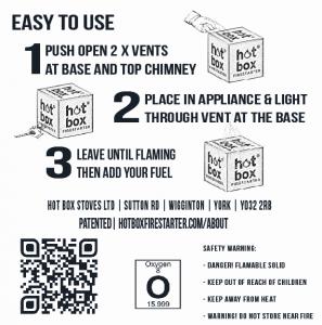 Hot Box ® Firestarter, instructions for use.